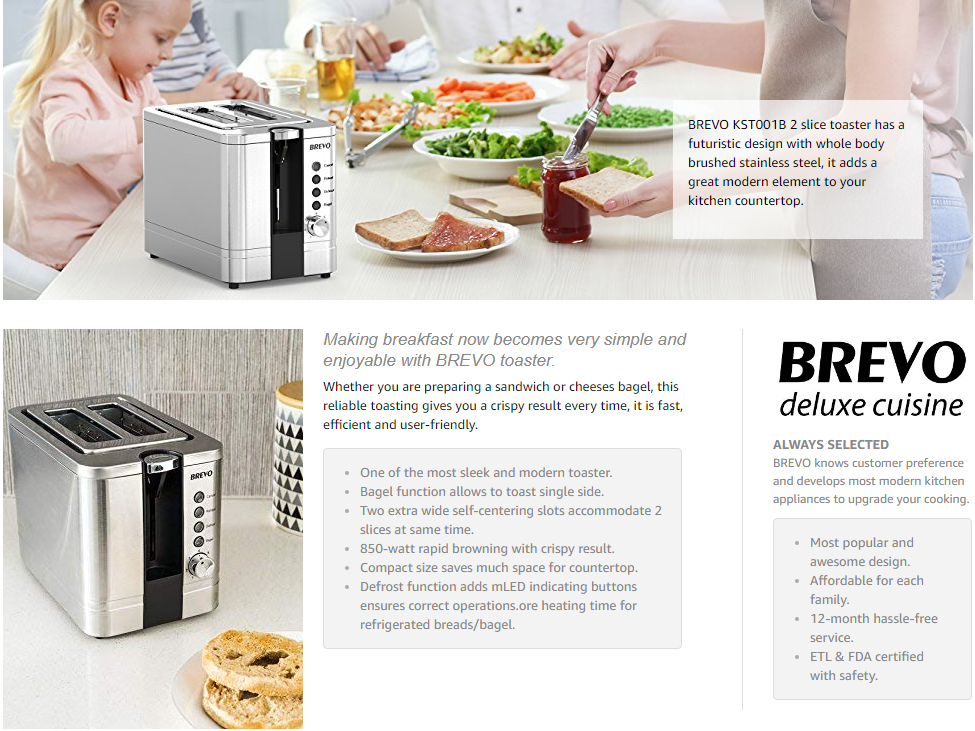 BREVO 2-Slice Extra Wide Slot Toaster for Bagel Breakfast with Brushed Stainless Steel Reheat Defrost 7-Shade Control